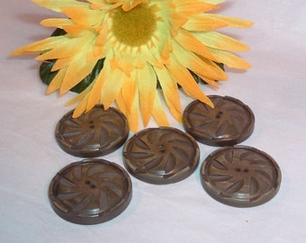 5 Large Grey Scuptural Coat Buttons, Reclaimed for Reuse