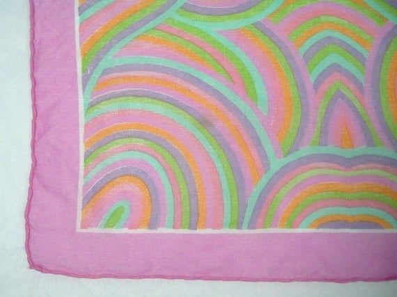 Handkerchief with Abstract  Design of Pink, Green, Lavender, Orange and Turquoise
