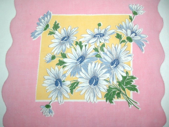 Handkerchief, Blue Daisies Bouquet, Pink Border with Scalloped Hem