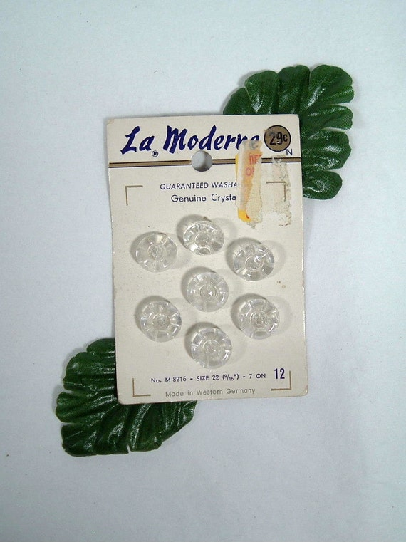 Set 7 Crystal Buttons, La Moderne, Exquisit , made in Western Germany, on Card