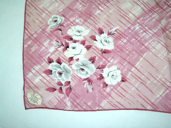 Burmel Linen Handkerchief, Pink with White Roses, Tag
