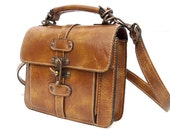 Carrie, French Vintage, Leather, Satchel, Crossbody Handbag from Paris