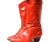 Queen of the Rodeo, Vintage Cherry Red Leather Cowboy Riding Boots with Heel, From Paris