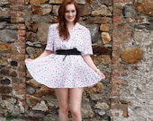 Katie, French Vintage, White and Coral Polka Dot Mini Dress, from Paris