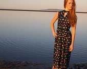 Nadina, French Vintage, 1970s Navy Floral Maxi Dress from Paris