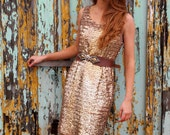 Goldie, Stunning French Vintage, 1950s Mad Men Style Gold Sequin Encrusted Evening Wiggle Dress, from Paris