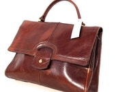 Choco Pop, French Vintage, Dark Tan Leather 1960s Handbag from Paris