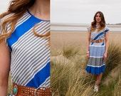 Tabitha, French Vintage, 1970s Electric Blue Stripe Midi Dress, from Paris