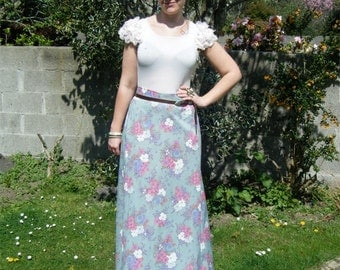 Wildflower, 1970s mint green floral mxi skirt