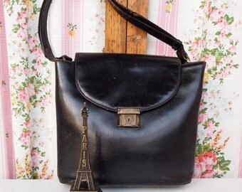 Joanie, French Vintage Antique 1950s Satchel Black Leather Messenger Envelope Handbag from Paris