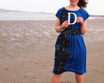 Penelope, French Vintage Electric Blue Dress with Abstract Floral and Pinstripe Print, Possible Plus Size