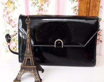 Patrice, French Vintage, 1980s Patent Black Leather Evening Purse Party Handbag from Paris