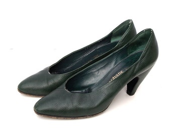 Olive, French Vintage, Bottle Green Leather High Heel Pumps, Shoes from Paris