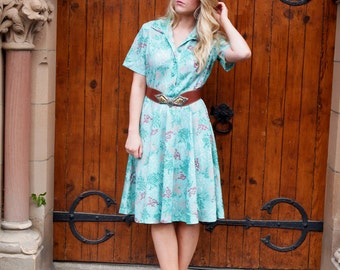 Gloria, French Vintage, 1970s Aqua Green Floral Shirt Dress, from Paris