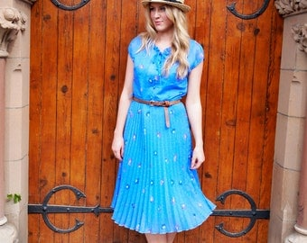 Daisy Dreams, French Vintage, Floral Polka Dot Cobalt Blue Midi Pleat Dress, from Paris