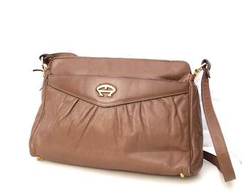 Mink, Etiene Aigner, French Vintage, Designer, Taupe Leather, Ziptop Handbag from Paris