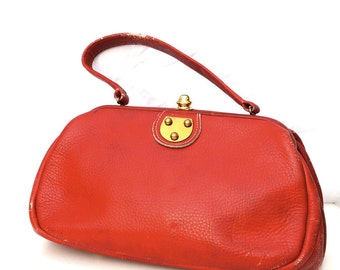 Strawberry Kisses, French Vintage, 1950s Ruby Red Leather Handbag from Paris