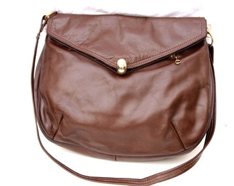 Claudine, Vintage, Chocolate Brown Leather Slouch Satchel Handbag from Paris