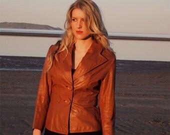 Honeycomb, Vintage Tan Leather Blazer Jacket, from Paris