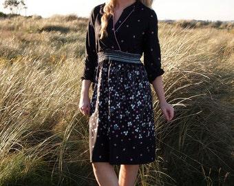 Bonnie, French Vintage, 1970s Black Floral Print Dress from Paris