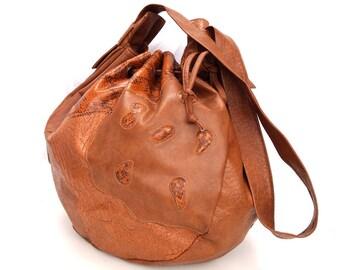Daphne, French Vintage, 1970s Tan Satchel, Snakeskin Drawstring Bag, Handbag from Paris