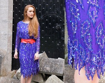 Empress, Stunning French Vintage, Royal Purple Sequin Encrusted Long Sleeved Evening Scalloped Dress, from Paris