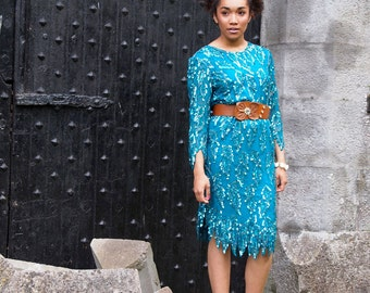 Tattie, Stunning French Vintage, Teal Green Sequin Encrusted Long Sleeved Evening Scalloped Dress, from Paris