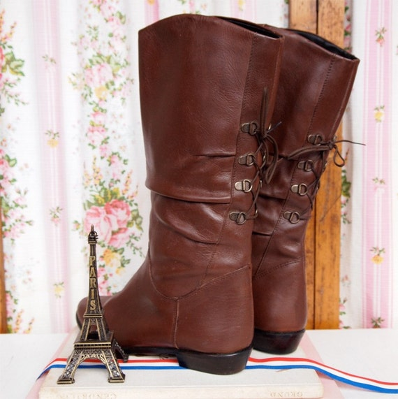 Pony Club, French Vintage Chocolate Brown Leather Lace Up Ring Style Boots, Size 40