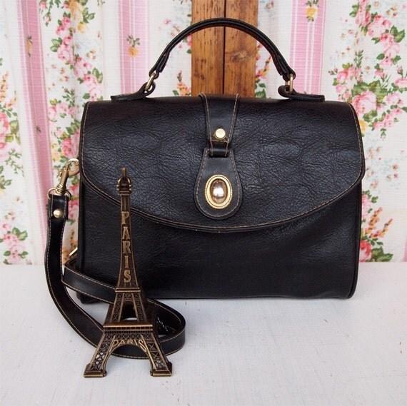 City Satchel, French Vintage Black Leather Satchel Messenger Crossover Handbag