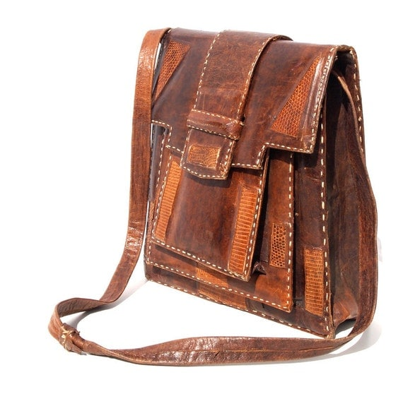 Coco, French Vintage, Chocolate Brown and Tan Snakeskin Leather, Bohemian Satchel Handbag from Paris
