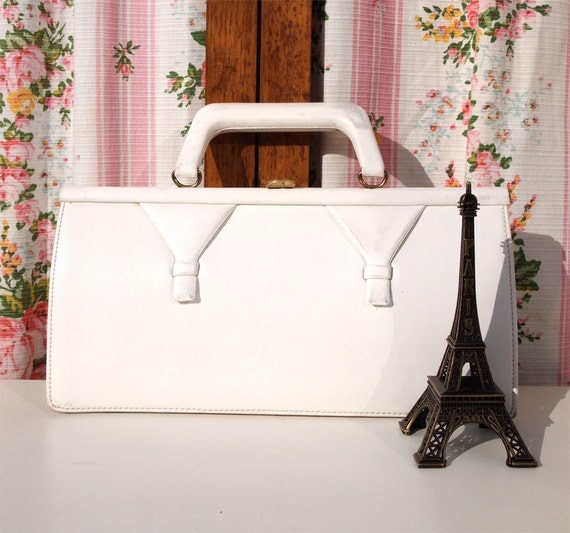 Valérie, French Vintage, 1950s White Leather, Envelope, Mad Men Style Evening Purse Handbag