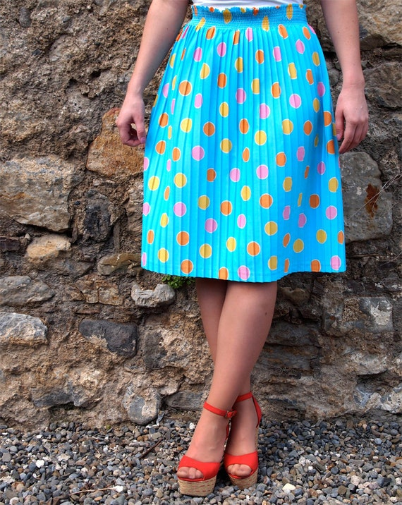 Célina, French Vintage, Bright Turquoise Blue Polka Dot Midi Skirt from Paris