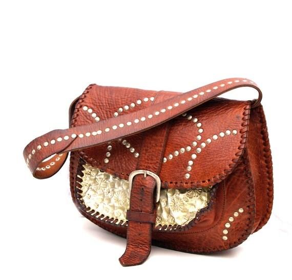 Argent, French Vintage, Dark Amber Tan Leather Silver Studded Satchel, Messenger,Handbag