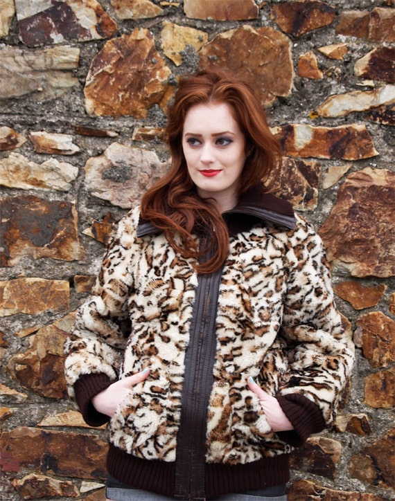 Reserved for Mogwai, Leonora, Vintage Faux Leopard Fur and Leather Bomber Jacket, French Vintage from Paris