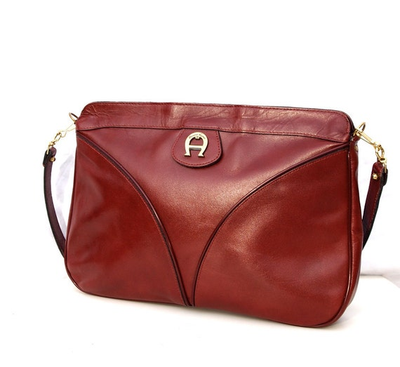 Lara, Etiene Aigner, French Vintage, Designer, Mulberry Red Leather, Satchel Messenger Handbag