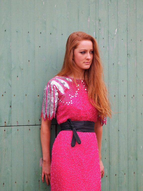 Amber, Stunning French Vintage, Cerise Pink Sequin and Bead Encrusted Evening Mini Dress, from Paris