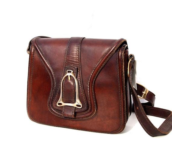 Chestnut, French Vintage, 1960s Dark Tan Leather Satchel, Messenger Handbag from Paris