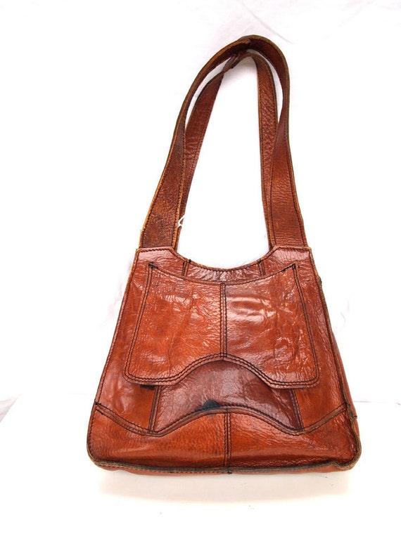 Penny, French Vintage, Tan Leather 1960s Shoulder Handbag from Paris