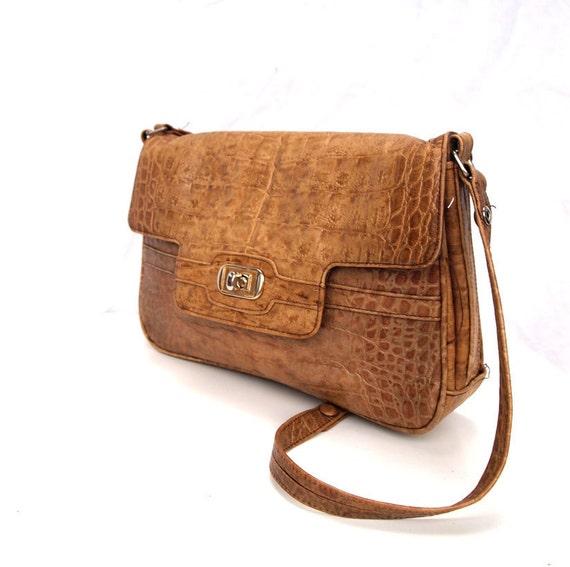Carolina, French Vintage, 1970s Tan Crocodile Satchel, Messenger Handbag from Paris, Festival Bag