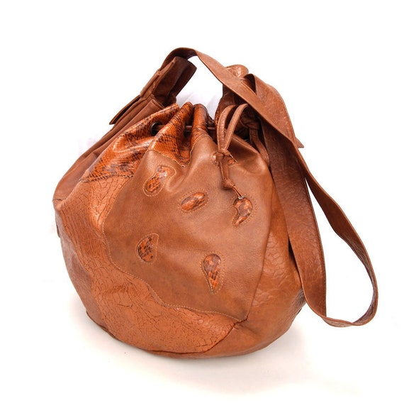 Daphne, French Vintage, 1970s Tan Satchel, Snakeskin Drawstring Bag, Handbag from Paris