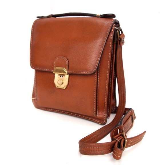 Bertie, French Vintage, Tan Leather His and Hers Satchel, Messenger, Crossbody Handbag from Paris