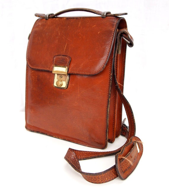Brown Owl, French Vintage, Tan Leather His and Hers Satchel, Messenger, Crossbody Handbag from Paris