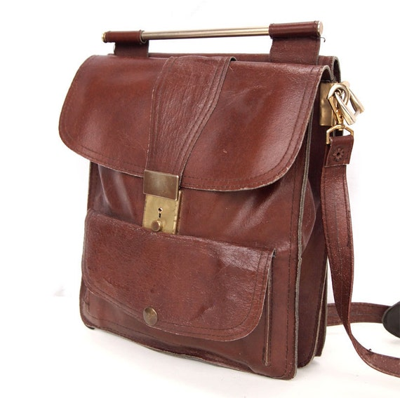 Chocolait, French Vintage, Chocolate Brown Leather His and Hers Satchel, Messenger, Crossbody Handbag from Paris