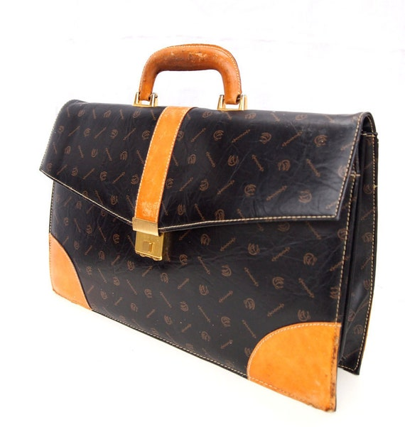 Workin Girl, French Vintage, Black and Tan Leather Briefcase Handbag, iPad Case, from Paris