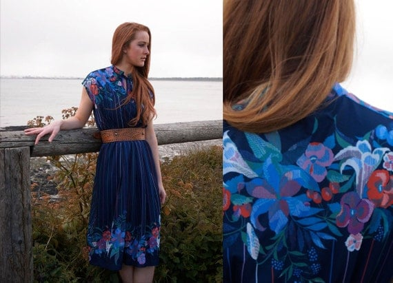 Cleo, French Vintage, 1970s Navy Blue Floral Midi Dress, from Paris