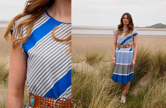 Tabitha, French Vintage, 1970s Electric Blue Stripe Midi Dress, from Paris