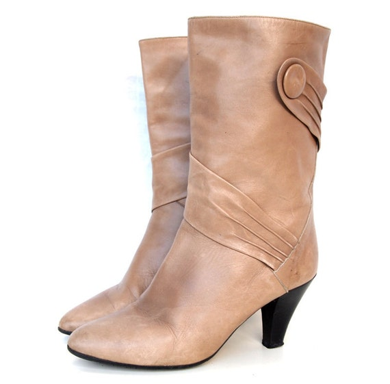 Tammy, French Vintage, 1970s Taupe Leather Boots, with High Heels, from Paris