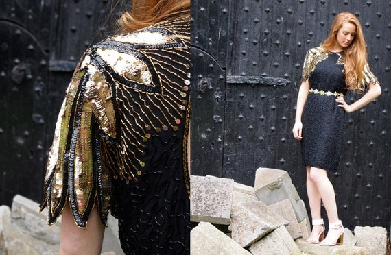 Midnight Mona, Vintage, 1970s Black Beaded, Gold Sequin, Party Dress with Cut-Out Back, from Paris