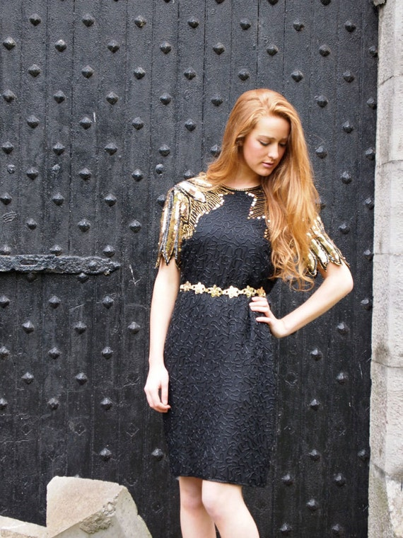 Midnight Sun, Vintage, 1970s Black Beaded, Gold Sequin, Party Dress with Cut-Out Back, from Paris