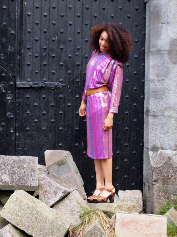 Mermaid, Stunning French Vintage, Metallic, Purple Long Sleeved Dress, from Paris